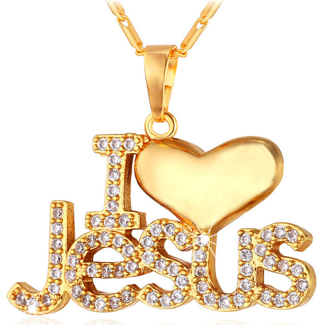 """I Love Jesus"" Heart Pendant & Chain Gift For Women/Men Silver/Gold Color Christian Jewelry Necklaces - ShoppingDailyDeals"