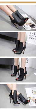 Women Black Open Toe High Heels Ankle Boots - ShoppingDailyDeals