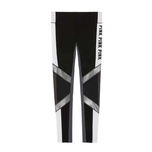 Women Love Pink High Waist Letter Print Fitness Leggings - ShoppingDailyDeals