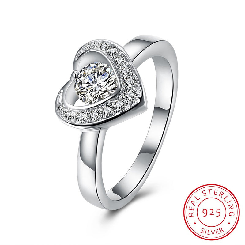 925 Sterling Silver Ring Romantic jewelry heart-shaped flat ring elegant diamond ring - ShoppingDailyDeals