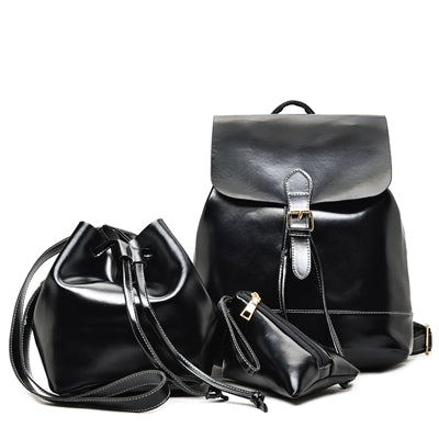 Women's Leather Backpacks With Purses 3 Sets Fashion Vintage Women Shoulder Bags - ShoppingDailyDeals