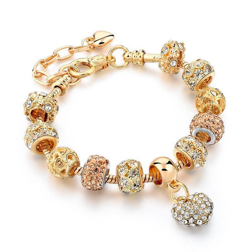 Gold Color Crystal Heart Women Trendy Jewelry Handmade Bracelet - ShoppingDailyDeals