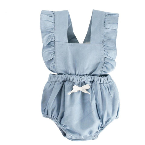 2018 Summer Baby Girl Rompers Ruffle Cotton Infant Jumpsuit Toddler Clothing with Princess Bow - ShoppingDailyDeals