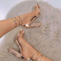 2018 Open Toe Clear Ankle Strap Lace Heels - ShoppingDailyDeals