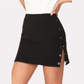 2018 New Buttoned Side Fitting Summer Mid Waist Elegant Plain Mini Skirt - ShoppingDailyDeals
