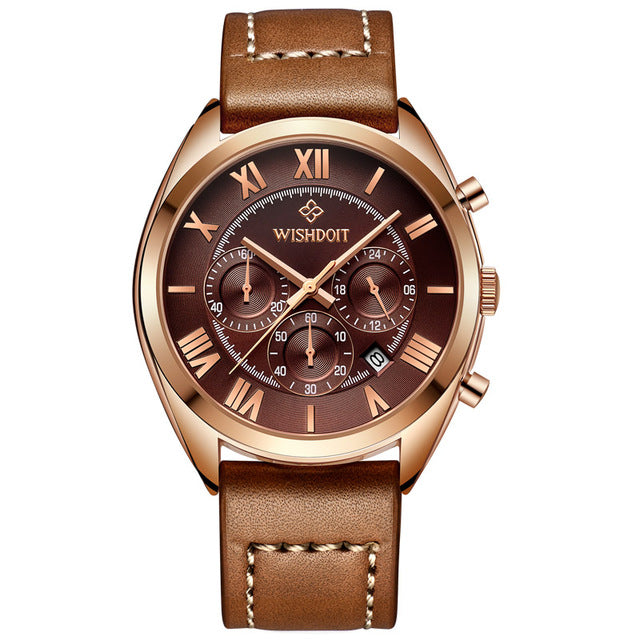 Top Brand Leather Men's Sports Waterproof Fashion Casual Business Watch - ShoppingDailyDeals
