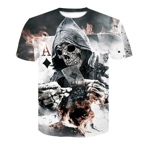 2018 New Mens Summer Skull Poker Print Short Sleeve 3D T Shirt - ShoppingDailyDeals