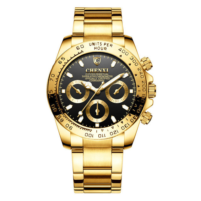 Men BusinessTop Brand Luxury Golden Wristwatch - ShoppingDailyDeals