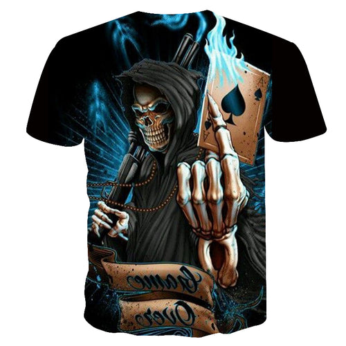 2018 NEW Skull Poker Men HOT  Brand Casual 3D Printed T Shirt - ShoppingDailyDeals