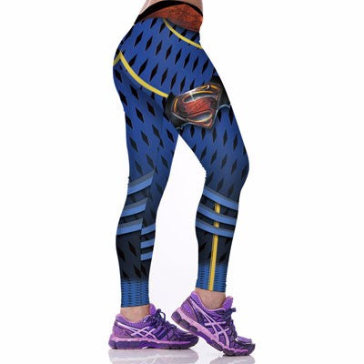 Women Workout 3D Superman Printed Fitness Leggings - ShoppingDailyDeals