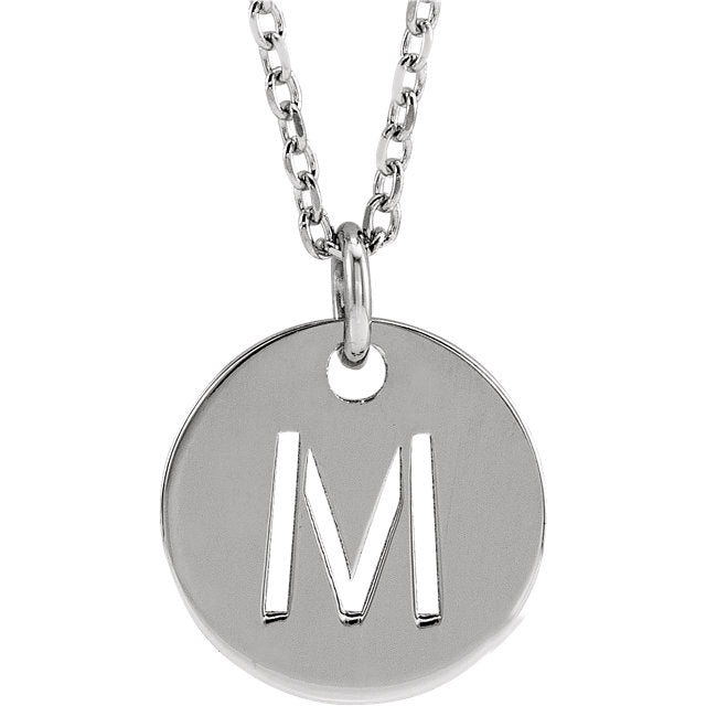 Stamped Cutout Initial Disc Necklace