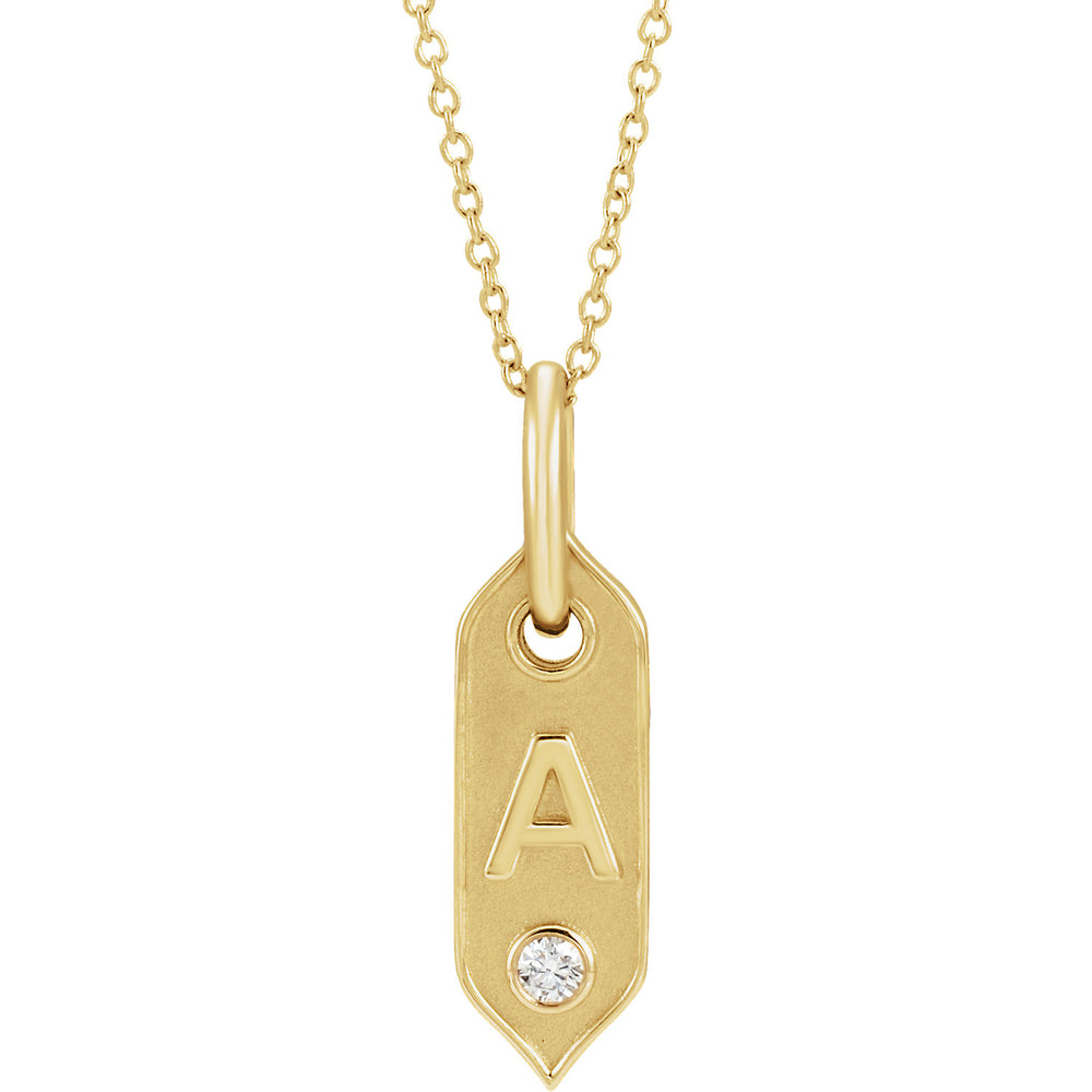 14K Gold Initial Necklace w/Diamond