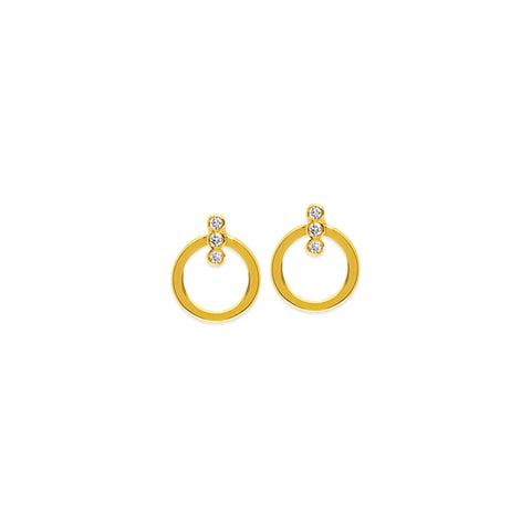 April Circle Stud Diamond Earrings