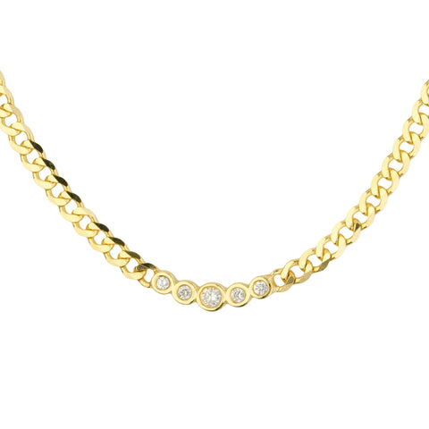 5 Diamond Chain Link Necklace