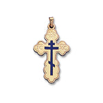 Blue Inlay Orthodox Cross 14K Yellow - Solid