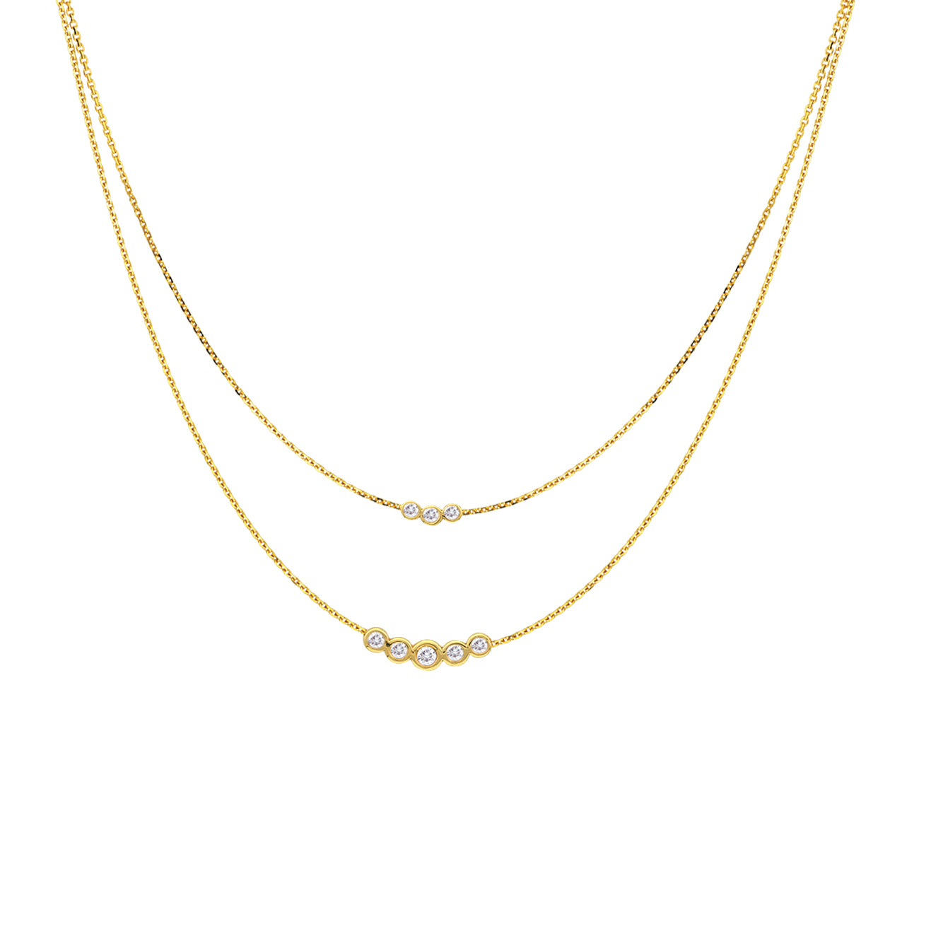 Double Strand Diamond Necklace