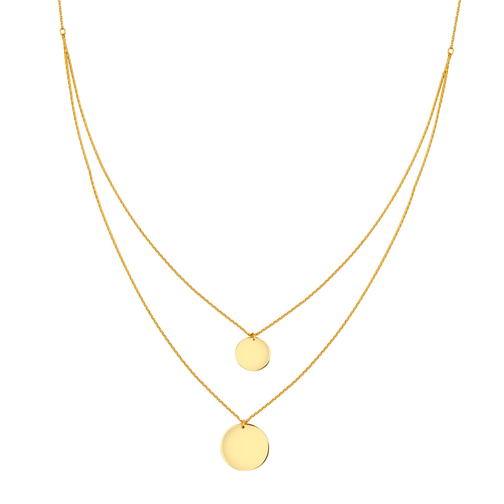 Layered Double Mini Disc Necklace