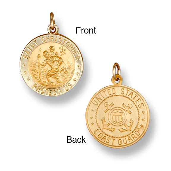 St. Christopher US Coast Guard 14K Yellow - Solid