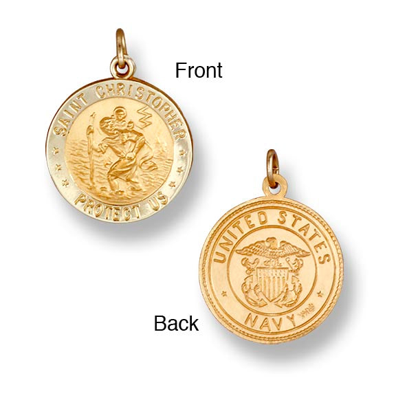 St. Christopher Navy 14K Yellow - Solid