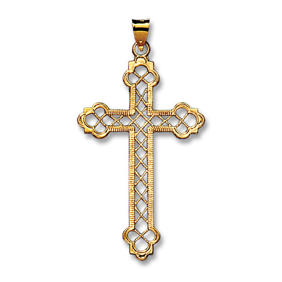 Trellis Cross 14K Yellow - Solid