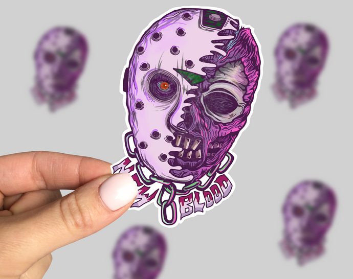 New Blood Sticker, Friday 13th Laptop Sticker, Horror Car Sticker, Monster Sticker, Friday the 13th