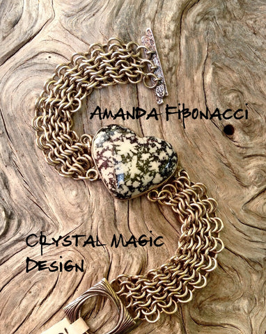 Flowerstone and chain maille bracelet by Amanda Martinson