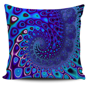 "Blue Wave Fractal Series Pillow Covers 18"" x 18"" Pillow Case Blue Wave fractal {{ crystalmagicdesigns }}"