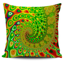 "Blue Wave Fractal Series Pillow Covers 18"" x 18"" Pillow Case Orange-Green Wave fractal {{ crystalmagicdesigns }}"