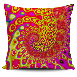"Blue Wave Fractal Series Pillow Covers 18"" x 18"" Pillow Case Pink-Yellow Wave fractal {{ crystalmagicdesigns }}"