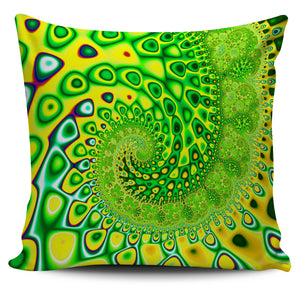 "Blue Wave Fractal Series Pillow Covers 18"" x 18"" Pillow Case Green-Yellow Wave fractal {{ crystalmagicdesigns }}"