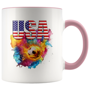 USA Soccer Accent Mug Drinkware Pink {{ crystalmagicdesigns }}