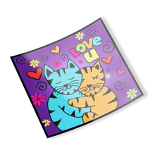 Hugging Cats Love You Sticker Stickers 2 {{ crystalmagicdesigns }}
