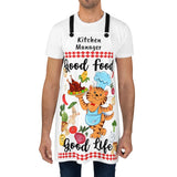 Kitchen Apron Good Food Good Life Chef Cat with organic veggies