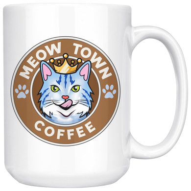 White Large Mug Meow Town Coffee 15 oz mug meowtown large mug {{ crystalmagicdesigns }}