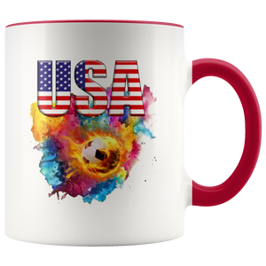 USA Soccer Accent Mug Drinkware Red {{ crystalmagicdesigns }}