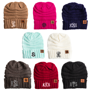 Personalized Monogram Beanie - Free Shipping Monogrammed Beanie Personalized Brown / Fancy {{ crystalmagicdesigns }}