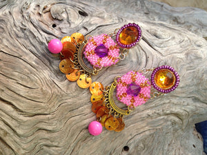 Pink Beadwork Chandelier Earrings by Amanda Martinson