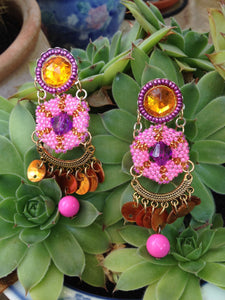 Pink Beadwork Chandelier Earrings by Amanda Martinson Earrings {{ crystalmagicdesigns }}