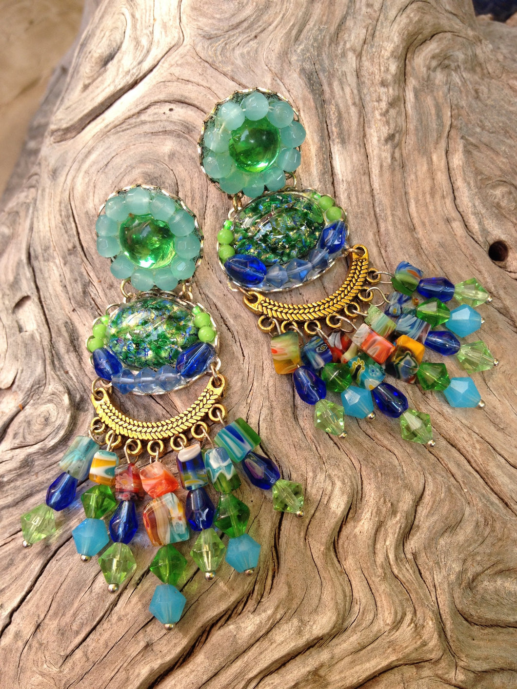 Green and Blue with Millefiore Chandelier Earrings by Amanda Martinson Earrings {{ crystalmagicdesigns }}