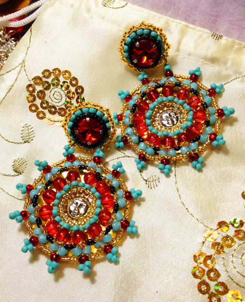 Turqouise and Red Medallion Earrings by Amanda Martinson