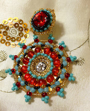 Turqouise and Red Medallion Earrings by Amanda Martinson Earrings {{ crystalmagicdesigns }}