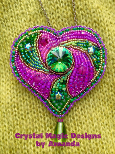 Pink and Green Bead Embroidered Heart Brooch by Amanda Martinson