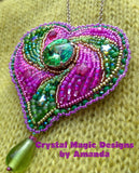 Pink and Green Bead Embroidered Heart Brooch by Amanda Martinson Brooch {{ crystalmagicdesigns }}
