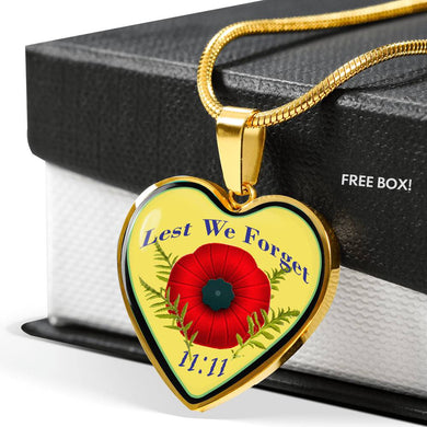 Remembrance Day Heart Necklace Engraveable