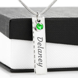 Birthstone Stick Necklace necklace Birthstone Name Tag {{ crystalmagicdesigns }}