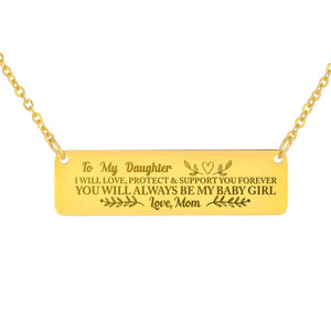 To My Daughter Horizontal Bar Necklace