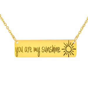 You Are My Sunshine Horizontal Bar Necklace horizontal bar necklace 18K Gold Over Stainless Steel Horizontal Bar Necklace / No {{ crystalmagicdesigns }}