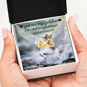 Goddess Infinity Hearts Necklace Gift for Wife