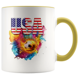 USA Soccer Accent Mug Drinkware Yellow {{ crystalmagicdesigns }}