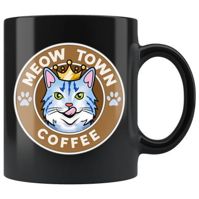Coffee Mug Meow Town Coffee Black 11 oz Drinkware meowtown coffee mug {{ crystalmagicdesigns }}
